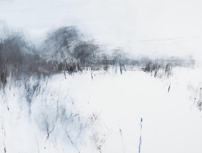 Hannah Woodman 'Beyond the Gateway, Kestle Barton' (2014); oil, graphite and gesso on paper, 57 x 77 cm